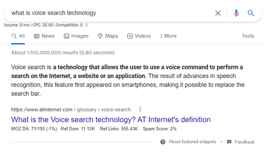 Snippet of a Google search result showing a Featured Snippet.